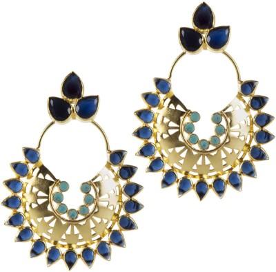 Mehtaphor Bela Crystal Brass Chandbali Earring