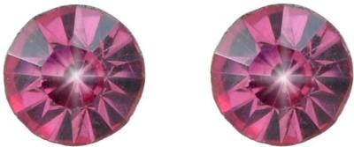 Diovanni Single Stone Stud Pink Crystal, Alloy Stud Earring