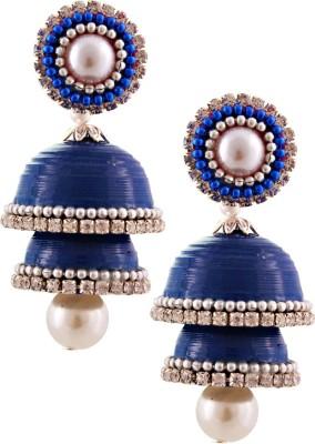 Jaipur Raga Hancrafted Double Stud Blue Double Jhumka Brass Jhumki Earring