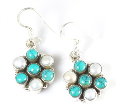 Anavaysilver Ear047 Pearl, Turquoise Sterling Silver Dangle Earring