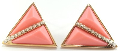 Jasveen Jewellery Crystal Swarovski With Pink Stone Gold Plated Alloy Stud Earring