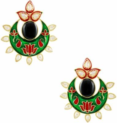 Orniza Pearl Border Black and Red Stone Earrings Brass Drop Earring