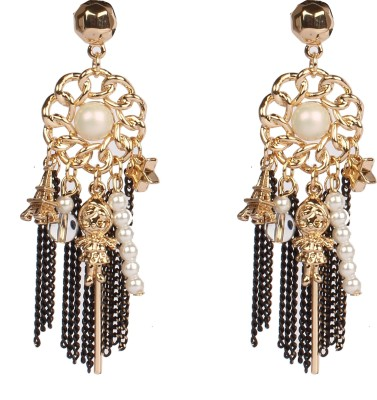 Divitha Allure Center pearl funky hangings dancing doll and eiffel tower from Divitha Allure. Alloy Drop Earring