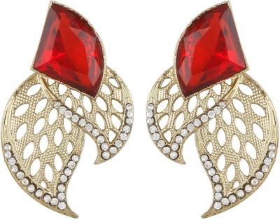 Radius Leaves Design Cut Zircon Metal Stud Earring