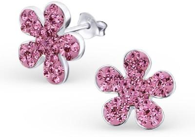 Maayin Blossom - Pink Crystal Silver Stud Earring