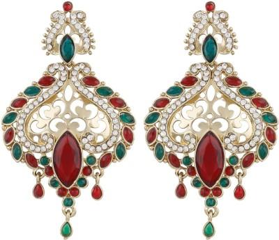 Radius Red Green Bandhani Style Zircon Metal Drop Earring
