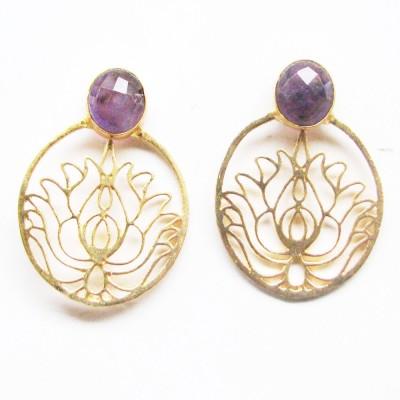 Bhrti semi precious Gold plated Ruby Brass Stud Earring
