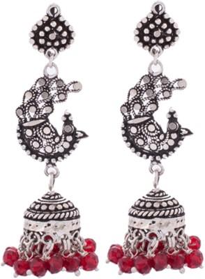 Aashirwad Red Beds Peacock Silver Jhumki Earring