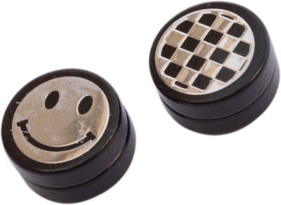 Foppish Mart Pair of Assorted Smiley & Checkered Circular Magnetic Beads Stainless Steel Stud Earring