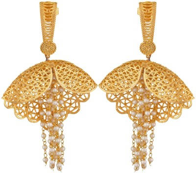 SB Fashions gold earring with white beads Brass Drop Earring