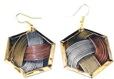 Sansar India Hexagon Metallic Tri Color Alloy Dangle Earring