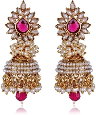 Jewels Guru Diva Style Pearl Alloy Jhumki Earring at flipkart