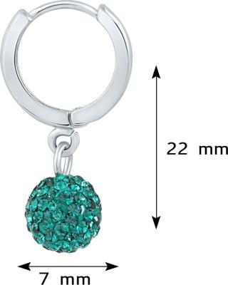 Mahi Dangling Beauty Green Bali Swarovski Crystal Alloy, Brass Hoop Earring at flipkart