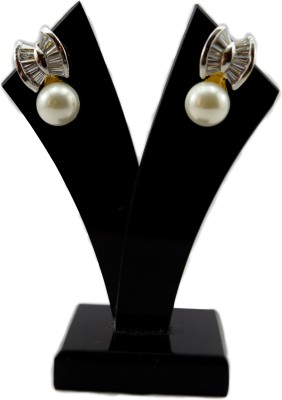 Bharat Sales Shining And Delightful Pair Made Up Of White Cz Stones And Pearl. Cubic Zirconia Alloy Earring Set