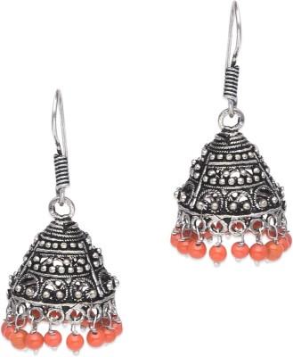 Supriya Orange Pearls & White Metal Jhumki Earring