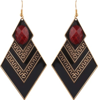 Gracent Black and Red Diamond shaped Metal Dangle Earring