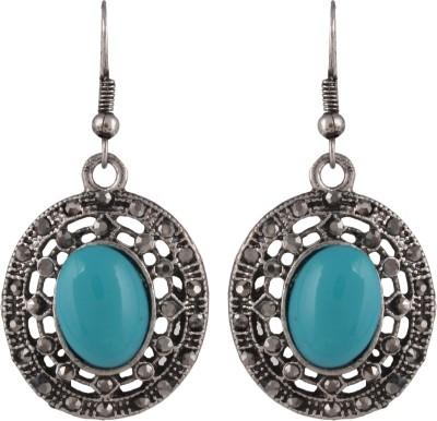 Anamis Antique look oval shape blue colour -Traditional cum fashionable AMFJEP013 Aluminum Dangle Earring