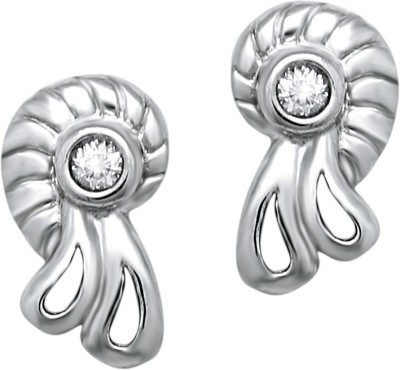 Om Jewells Floral Shell Cubic Zirconia Sterling Silver Stud Earring