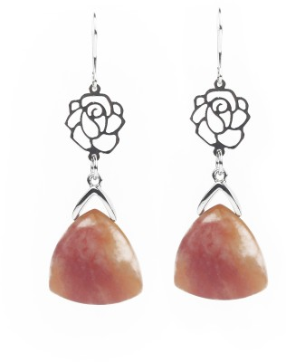 Jewelfin Oreange with Silver Rose Alloy Drop Earring