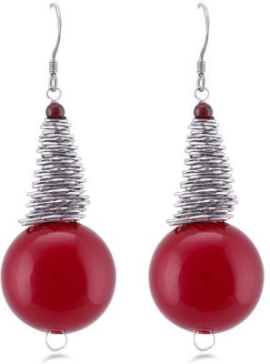 Jazz Jewellery Red Colour Hanging Pearl Earring Alloy Drop Earring