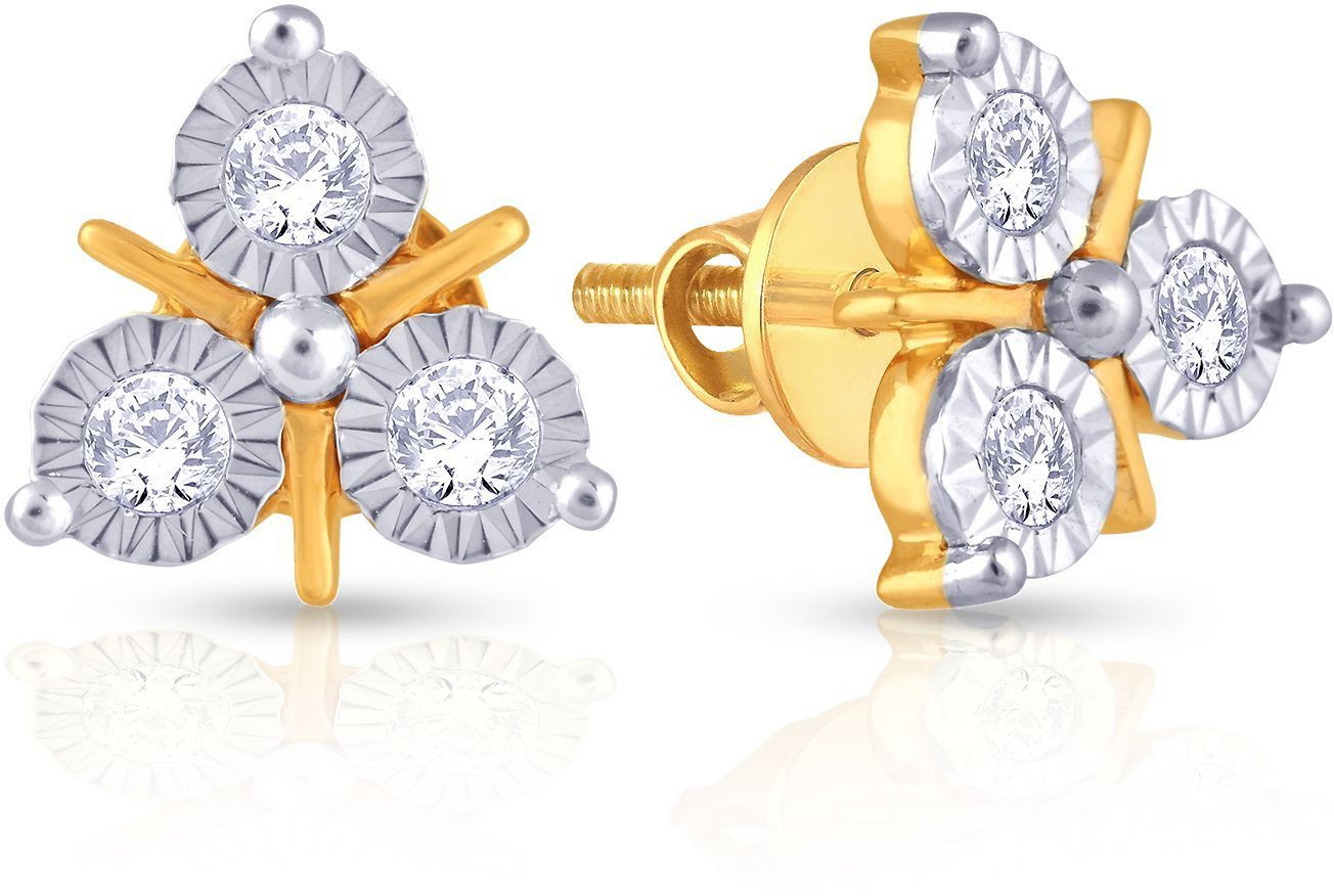 68fc7b2780a93 Malabar Gold and Diamonds E651042 Yellow Gold 18kt Diamond Stud Earring