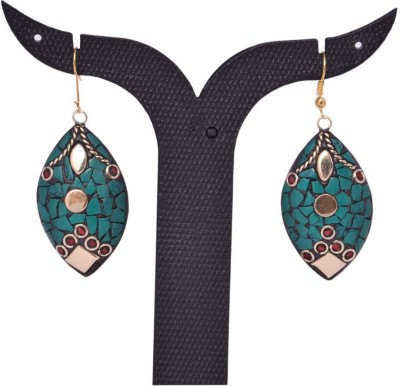 Tradition India TI87 Handmade Designer Stone Studded Traditional Lac Worked Brass Drop Earring