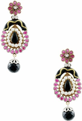 Orniza Pear Shaped Victorian Earrings in Ruby and Black Color Brass Drop Earring