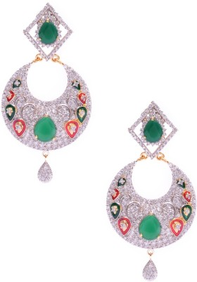 Rubena Silver Based Danglers With White Cz Stone Cubic Zirconia Alloy Chandbali Earring