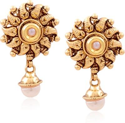 Hyderabad Jewels GOLDEN Pearl Copper Drop Earring