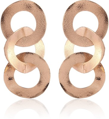 Thingalicious Trendy Oversized Interlinked Circles Alloy Drop Earring
