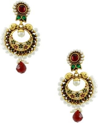 Orniza Rajwadi Earrings In Red & Green Color And Golden Polish Brass Dangle Earring