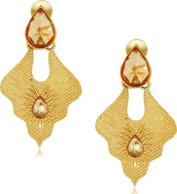 Spargz Designer Curvy Hanging with AD Stone Alloy Drop Earring