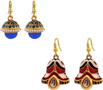 MK Jewellers Designer Multicolor Meenakari Jhumki earring Combo Brass, Copper Earring Set