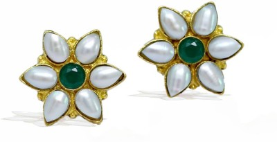 Jaipur Mart Flower Shape Shiny Crystal With Green Color AD Tops Brass Stud Earring