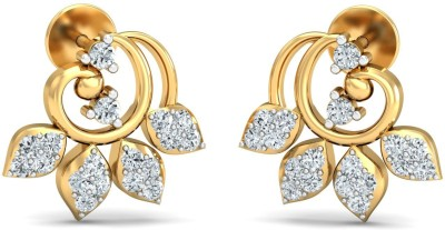 Zomint Four Leaf Touch Yellow Gold 18kt Diamond Stud Earring
