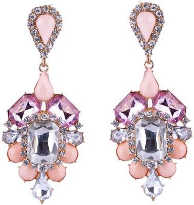 Monisha Daga Art Deco Pink Alloy, Stone Chandelier Earring