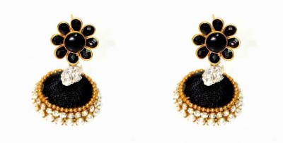 Craftworks black color Silk Dori Jhumki Earring