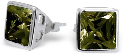Maayin Square CZ - Olivine Sterling Silver Stud Earring