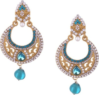Young & Forever Royal Firozi Alloy, Mother of Pearl, Crystal Chandbali Earring