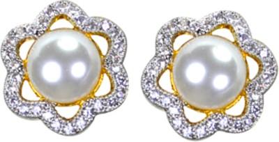 Pearl Paradise Twinkling Star Cubic Zirconia Brass Stud Earring