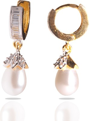 GHK American Diamond Pearl CZ Drop Bali Alloy Hoop Earring