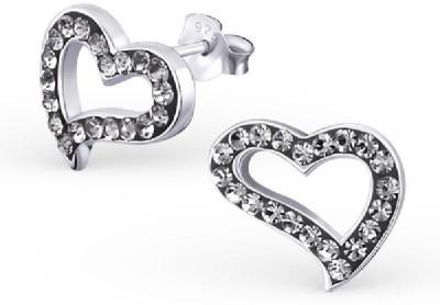 Maayin Border Heart - Black Crystal Silver Stud Earring