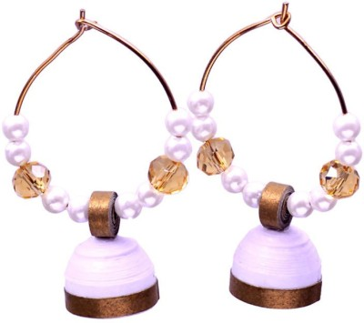 Rivory Bros Classic Quilled White Jhumkis Paper Hoop Earring