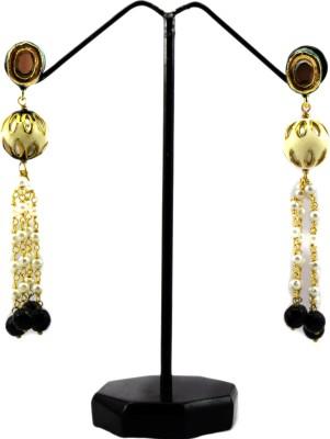 Bharat Sales black pearl Alloy designer Cubic Zirconia Alloy Tassel Earring
