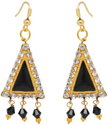 Jaipur Mart Triangle Black Lac With Shiny Alloy Drop Earring