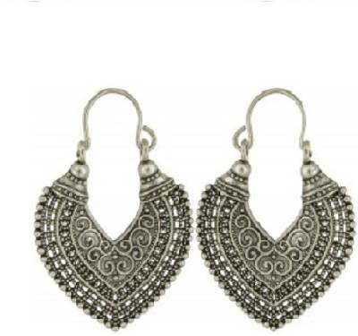 CTW Antique Oxidised With Beads Alloy Hoop Earring