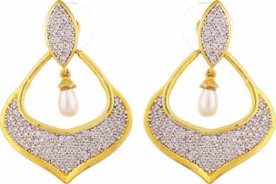 TUAN Shiny Dangle Cubic Zirconia Brass Drop Earring