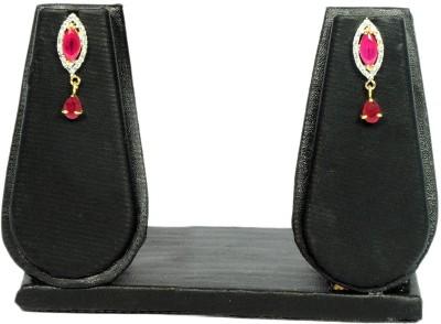Saaj Jewels Pink Drop Crystal Alloy Drop Earring