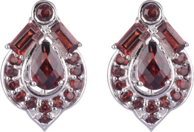 Krishna Pearls & Jewellers Princess Delight Garnet Silver Stud Earring