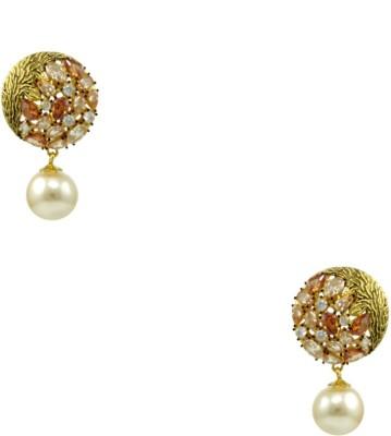 Orniza CZ Diamond Fashion Earrings in Champagne Color and Golden Polish Brass Drop Earring